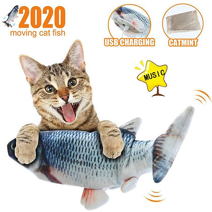 Fish Dancing Cat Toy Wagging Simulation Electric With USB Catnip for Kitten 30CM