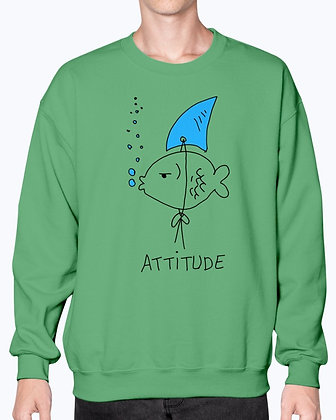Fish Shark Attitude- Concept Art  - Sweatshirt - Crew
