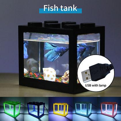 Cylinder Mini Aquarium Building Block With Lamp Color USB Light