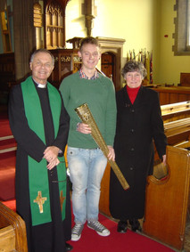 Eating Stones Fund founder visits Otley Bridge Church. with olympic torch of course.