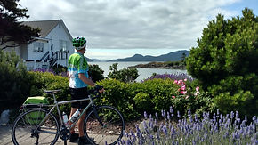 Cyclist enjoys island view