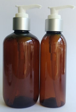 Amber PET Bottle Silver Lotion Pump