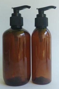 Amber PET Bottle Black Lotion Pump