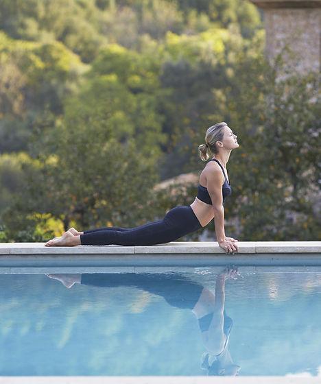 Yoga by pool
