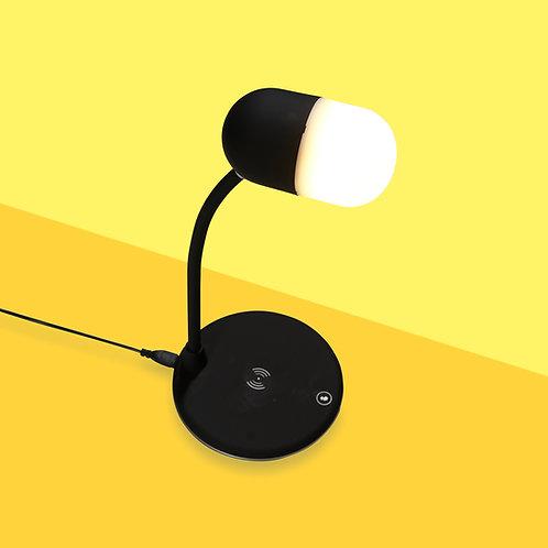 Luminária Led articulável, Carregador por Indução e Speaker