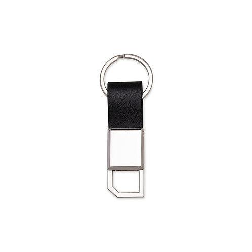 Chaveiro em metal com detalhe em couro personalizado Nexo Brindes Promocionais