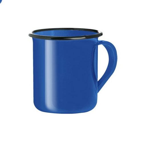 Caneca de Cafézinho azul personlaizada Aço Esmaltada Rustica Retro 150ml