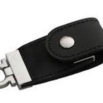 Pen Drive Chaveiro de Couro Preto Personalizado