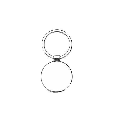 Chaveiro de metal redondo personalizado com chapa central verso liso nexo brindes novo hamburgo