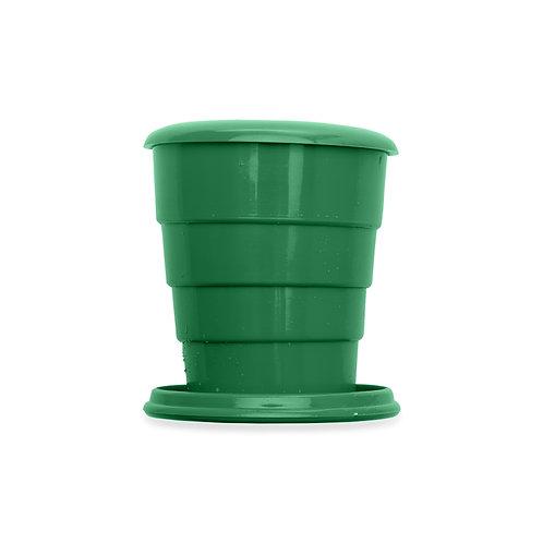 Copo retrátil 130ml de plástico com tampa verde