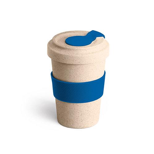Copo para viagem. Fibra de bambu e PP. Com banda de silicone e tampa.