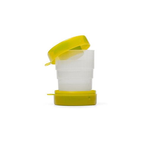 Copo retrátil 200ml de plástico com tampa porta comprimido e base colorida