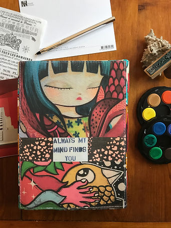 """Back side of """"Love is the answer"""": a handmade notebook created by DelphineIV"""