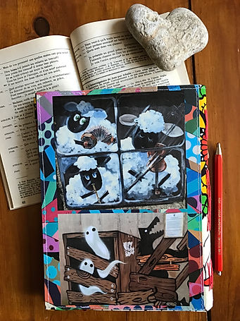 Unique handmade notebook with collage cover by DelphineIV