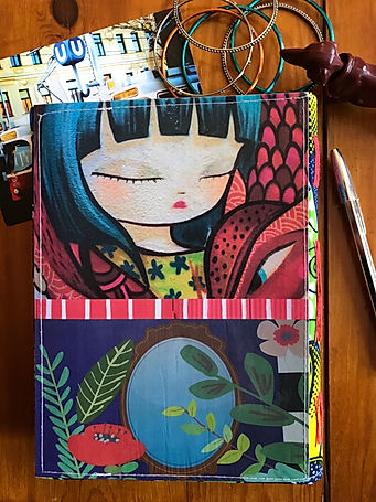 Handmade notebook with unique collage cover by DephineIV