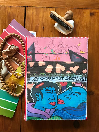A durable handmade notebook with a collage cover by DelphineIV