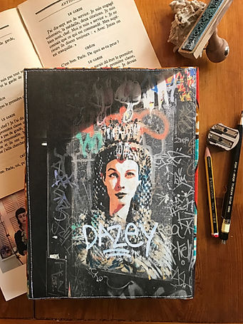 Durable handmade notebook with unique collage cover by DelphineIV
