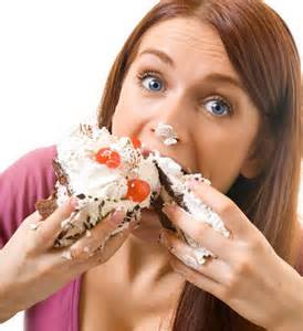 Woman going whole hog with sweet treats