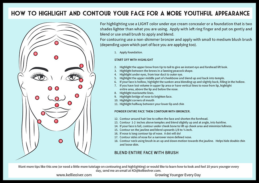 Learn how to contour and highlight your face for a more youthful appearance by Kellie Olver