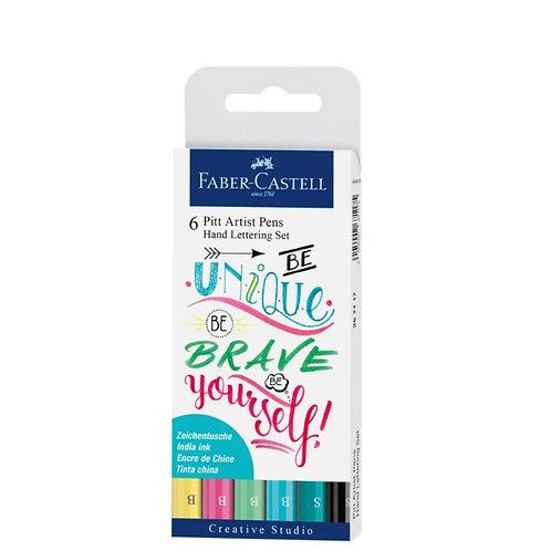 FABER-CASTELL Pitt Art Pen Handlettering Pastel 6er Set
