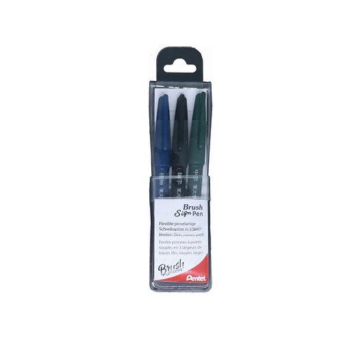 Pentel Brush SignPen Pigment 3er Set