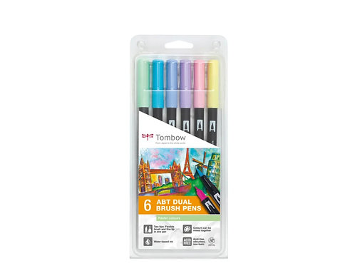 TOMBOW ABT Dual Brush Pen 6er Set Pastellfarben