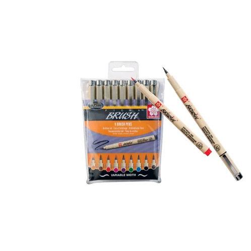 SAKURA Pigma Brush Pen 9er Set