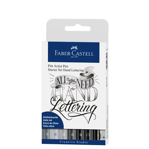 FABER-CASTELL Pitt Art Pen Handlettering 8er Set schwarz/grau