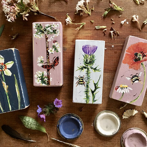 Hand Painted Flower Blocks