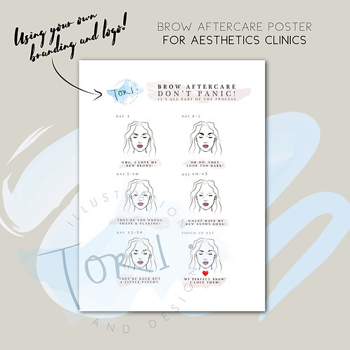 Aesthetics Printed Poster - Brow Aftercare with your logo