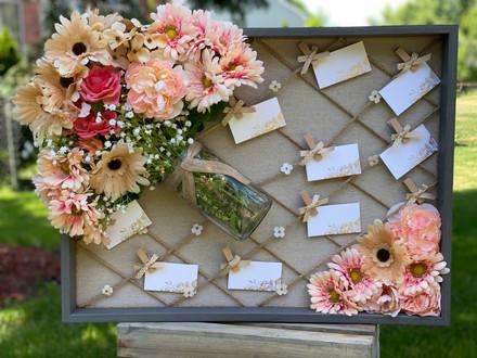 Handmade Mason Jar Flower Display Board