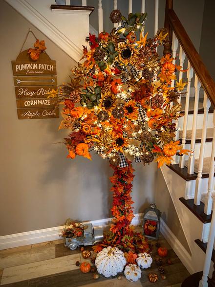 Festive Fall Twinkling Entrance Tree