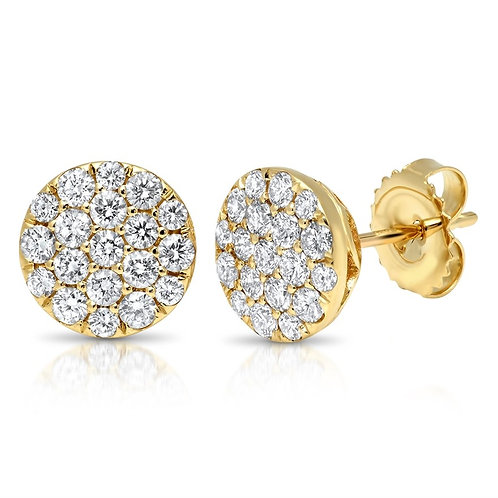 Round Cluster Diamond Earrings