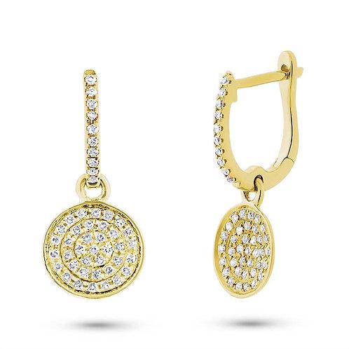Yellow Gold Dangle Disk Earrings