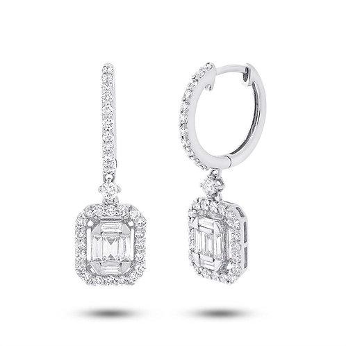 Bagguette & Round Diamond Earrings