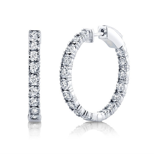White Gold and Diamond Hoop Earirng