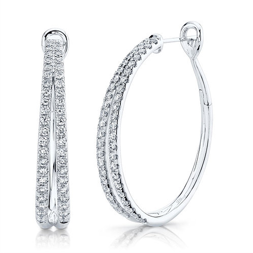 White Gold and Diamond Hoop Earring
