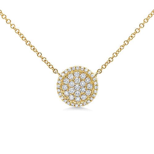 Round Pave Diamond Necklace