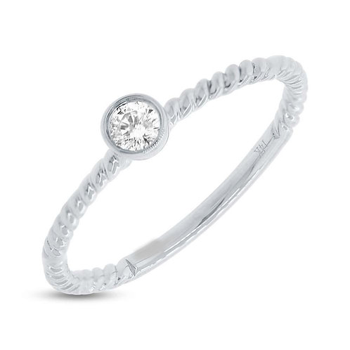 White Gold and Diamond Stackable Band