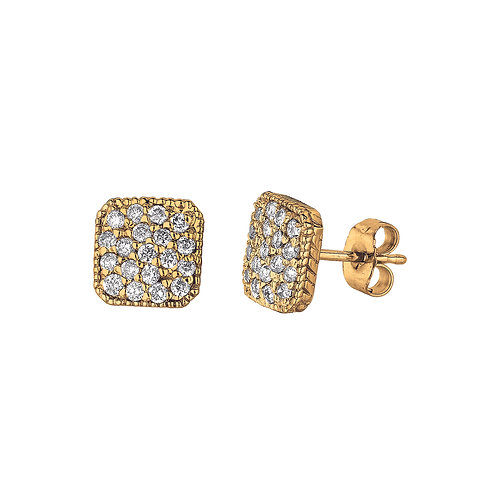 Cushion Cluster Diamond Earrings