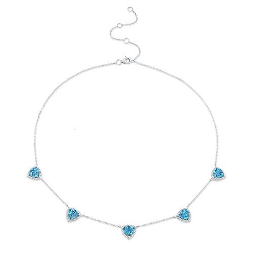 Necklace Diamonds and Blue Topaz