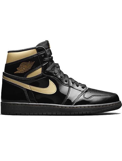 AJ 1 Black/Gold Patent Leather (Men's)