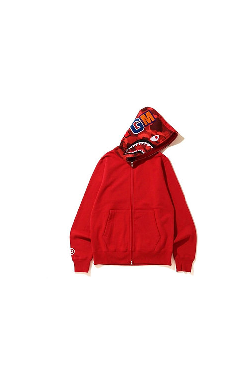 Bape Full Zip Shark Hoodie Red