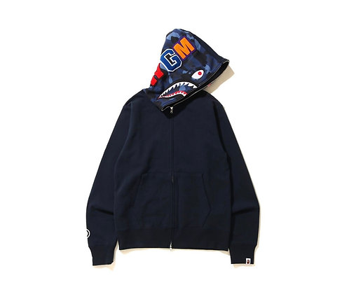 Bape Full Zip Shark Hoodie Navy Blue