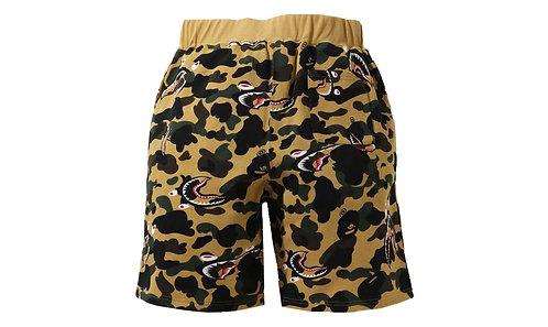Bape Shark Sweatshorts Yellow Camo
