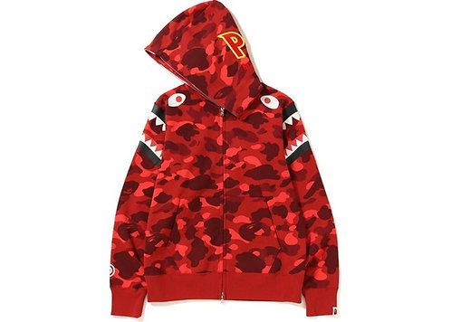 Bape Double Shoulder Shark Hoodie Red