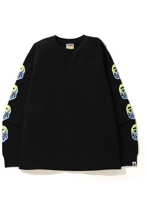 Flame Ape Head L/S Black