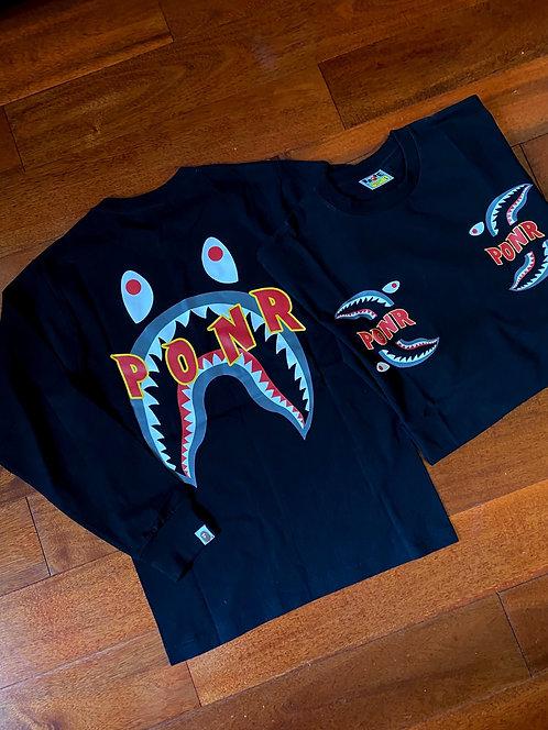 Bape Shark PONR Longsleeve Black