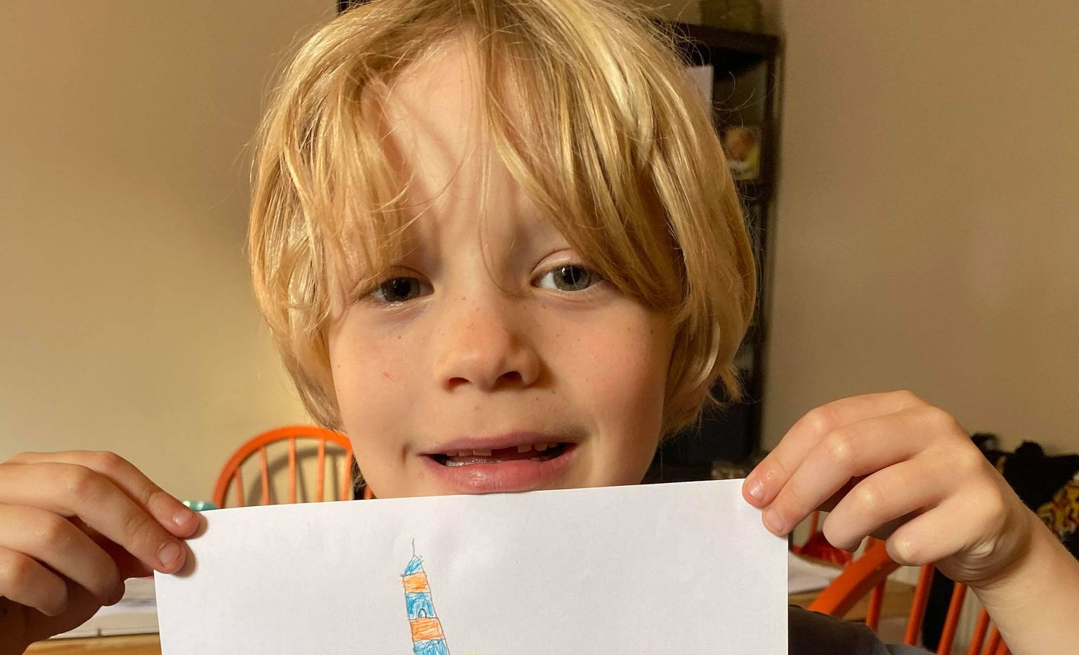 George and his drawing of the lighthouse