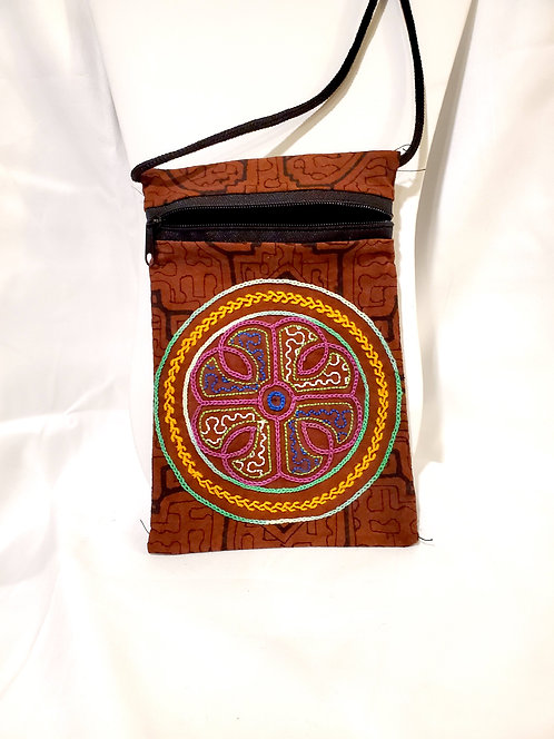 "GB54.2 - Hand-Painted & Embroidered Shipibo Textile Bag, 4.5"" x 7.5"""